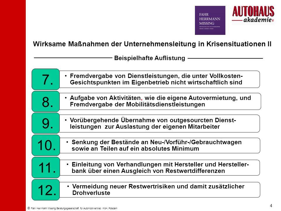 © Fahr Herrmann Missing Beratungsgesellschaft für Automobilvertrieb mbH, Potsdam Wirksame Maßnahmen der Unternehmensleitung in Krisensituationen II Fr