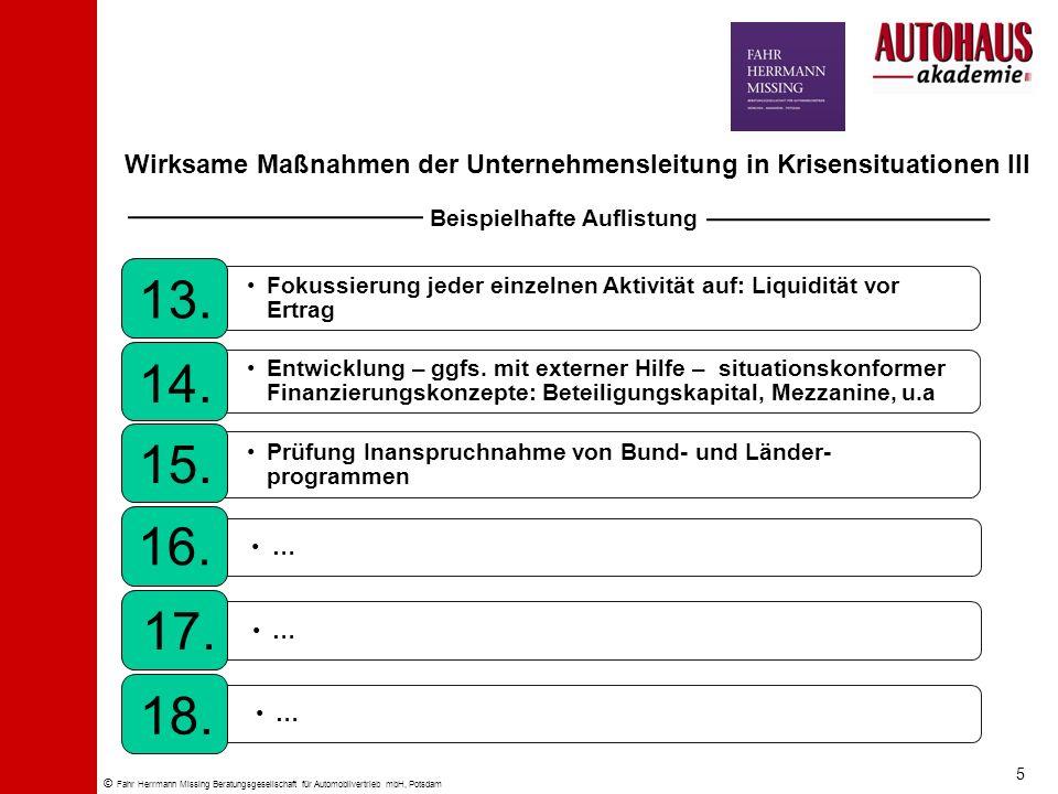 © Fahr Herrmann Missing Beratungsgesellschaft für Automobilvertrieb mbH, Potsdam Wirksame Maßnahmen der Unternehmensleitung in Krisensituationen III F