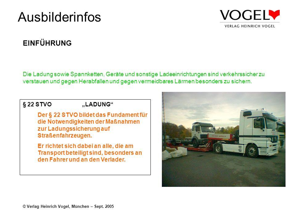 Ausbilderinfos © Verlag Heinrich Vogel, München – Sept. 2005 EINFÜHRUNG Die Ladung sowie Spannketten, Geräte und sonstige Ladeeinrichtungen sind verke