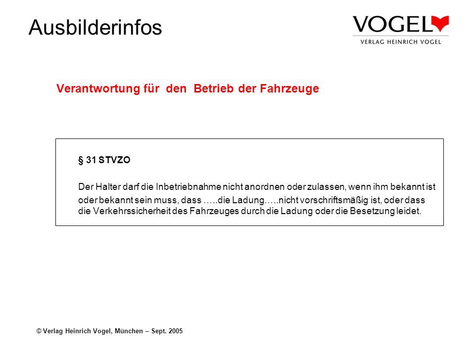 Ausbilderinfos © Verlag Heinrich Vogel, München – Sept. 2005 Verantwortung für den Betrieb der Fahrzeuge § 31 STVZO Der Halter darf die Inbetriebnahme