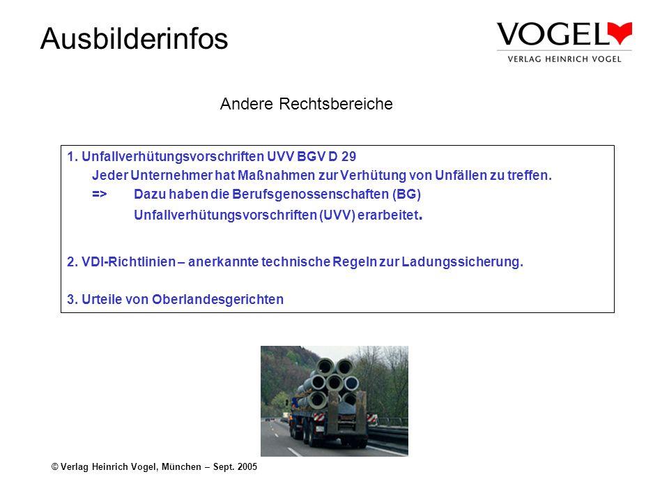 Ausbilderinfos © Verlag Heinrich Vogel, München – Sept. 2005 Andere Rechtsbereiche 1. Unfallverhütungsvorschriften UVV BGV D 29 Jeder Unternehmer hat