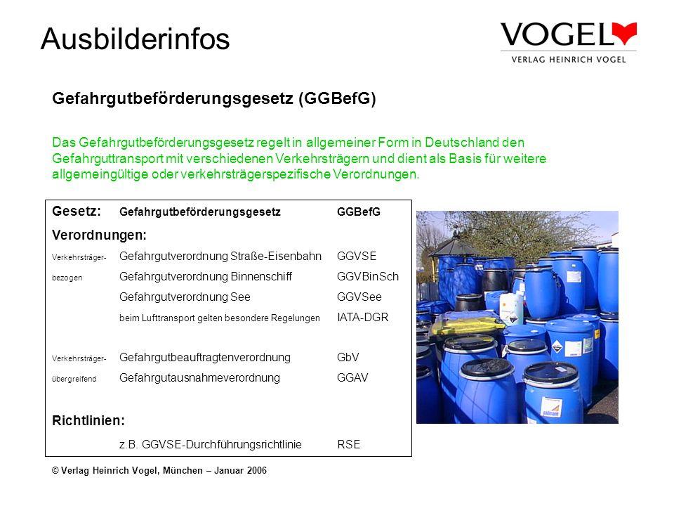 Ausbilderinfos © Verlag Heinrich Vogel, München – Januar 2006 Gefahrgutbeförderungsgesetz (GGBefG) Das Gefahrgutbeförderungsgesetz regelt in allgemein