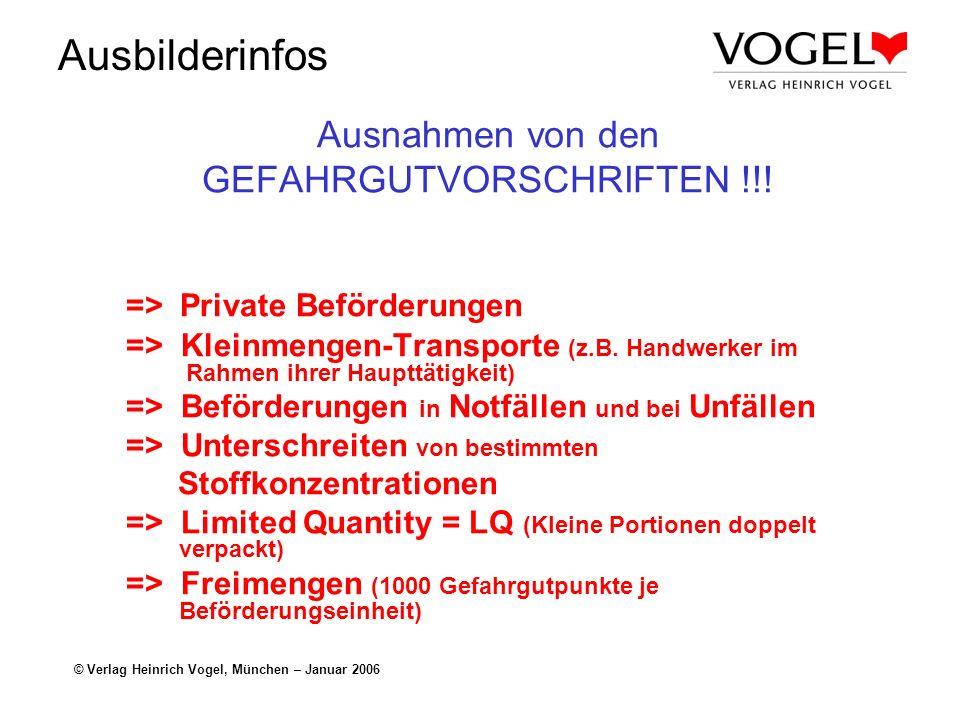 Ausbilderinfos © Verlag Heinrich Vogel, München – Januar 2006 Ausnahmen von den GEFAHRGUTVORSCHRIFTEN !!! => Private Beförderungen => Kleinmengen-Tran