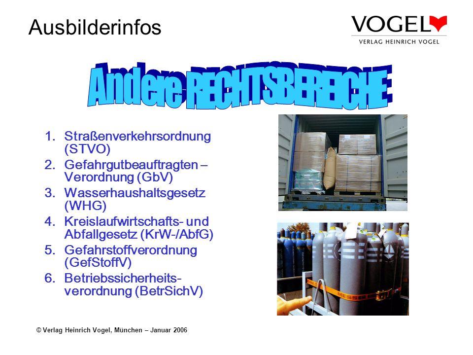 Ausbilderinfos © Verlag Heinrich Vogel, München – Januar 2006 1.Straßenverkehrsordnung (STVO) 2.Gefahrgutbeauftragten – Verordnung (GbV) 3.Wasserhaush