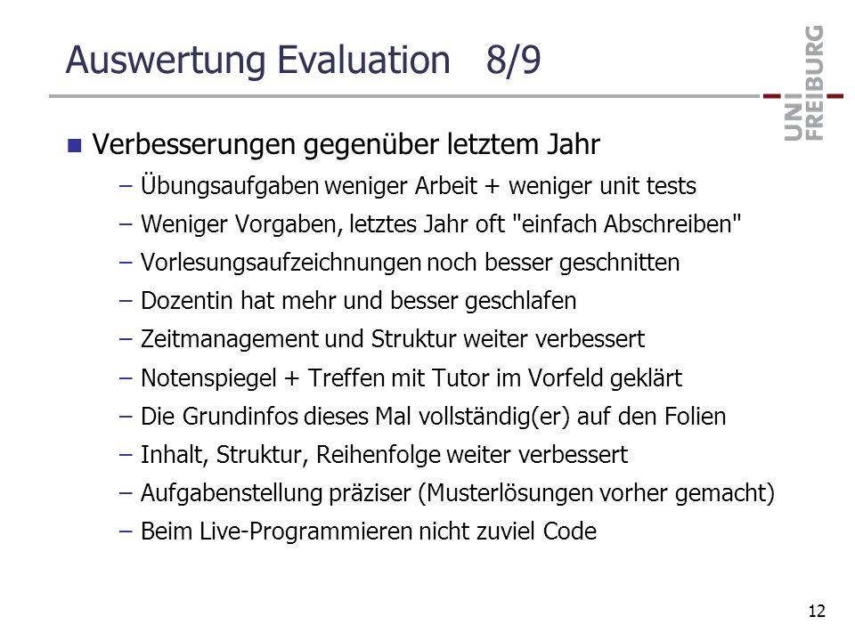 Auswertung Evaluation 8/9 Verbesserungen gegenüber letztem Jahr –Übungsaufgaben weniger Arbeit + weniger unit tests –Weniger Vorgaben, letztes Jahr of