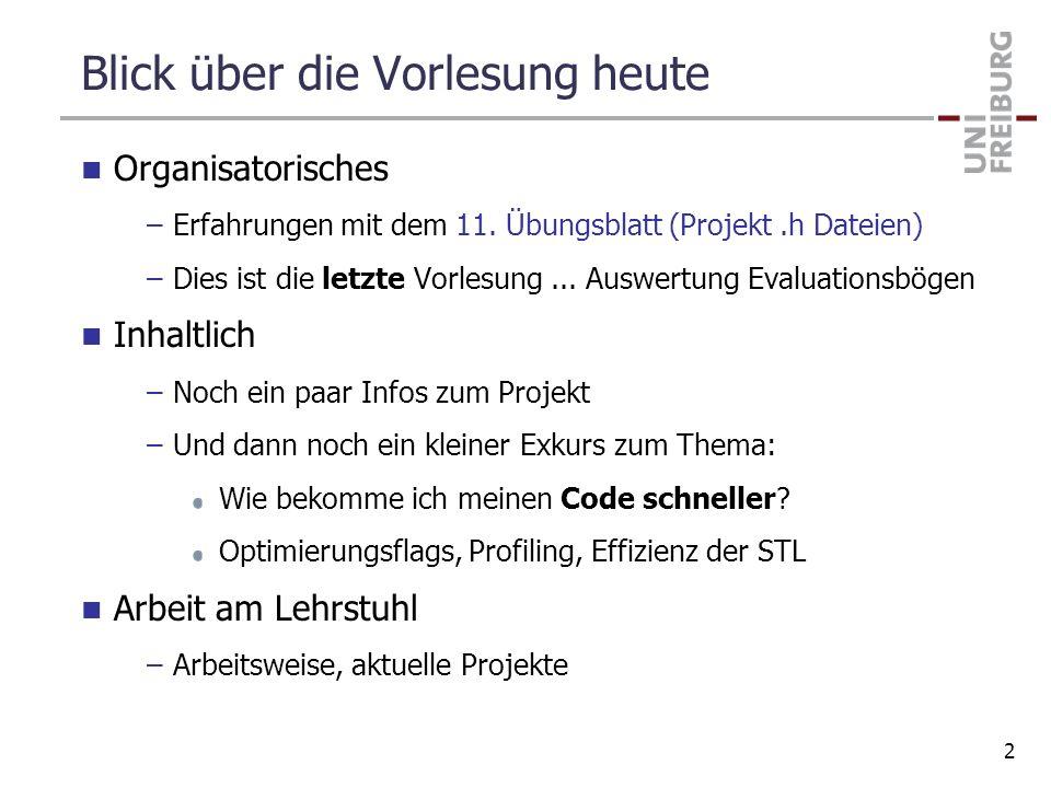 Blick über die Vorlesung heute Organisatorisches –Erfahrungen mit dem 11. Übungsblatt (Projekt.h Dateien) –Dies ist die letzte Vorlesung... Auswertung