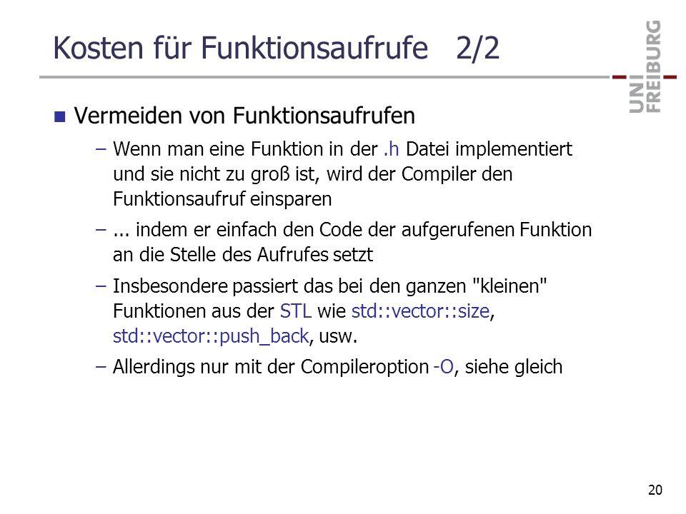Kosten für Funktionsaufrufe 2/2 Vermeiden von Funktionsaufrufen –Wenn man eine Funktion in der.h Datei implementiert und sie nicht zu groß ist, wird d