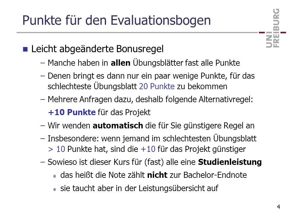 Punkte für den Evaluationsbogen Leicht abgeänderte Bonusregel –Manche haben in allen Übungsblätter fast alle Punkte –Denen bringt es dann nur ein paar