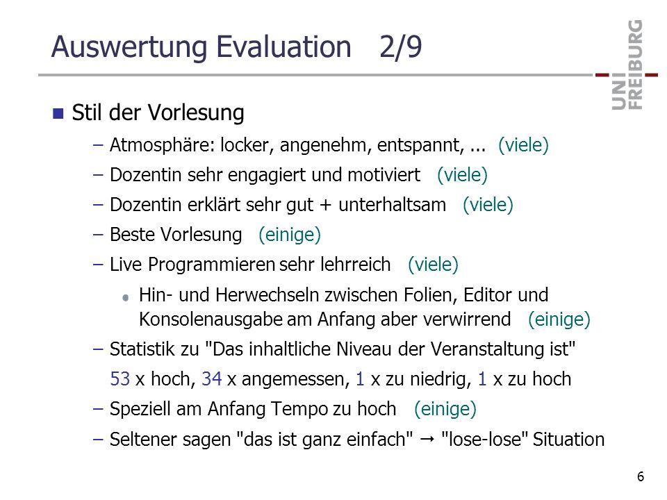 Auswertung Evaluation 2/9 Stil der Vorlesung –Atmosphäre: locker, angenehm, entspannt,... (viele) –Dozentin sehr engagiert und motiviert (viele) –Doze