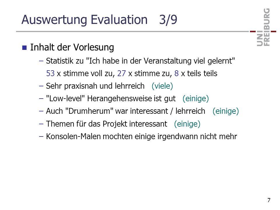 Auswertung Evaluation 3/9 Inhalt der Vorlesung –Statistik zu