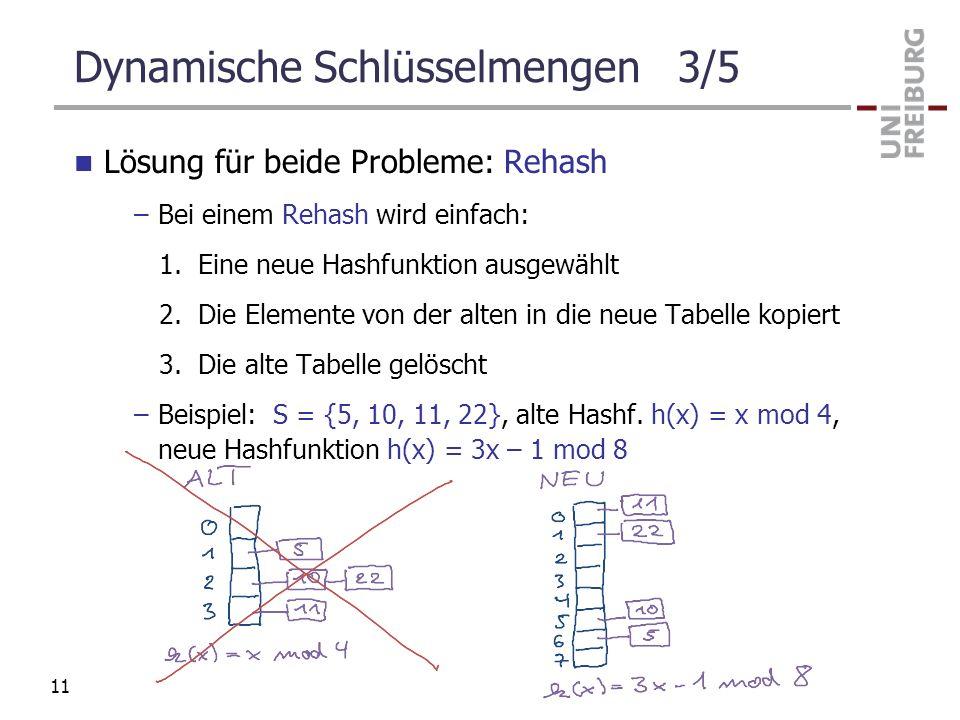 Dynamische Schlüsselmengen 3/5 Lösung für beide Probleme: Rehash –Bei einem Rehash wird einfach: 1. Eine neue Hashfunktion ausgewählt 2. Die Elemente