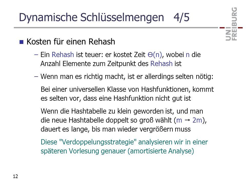 Dynamische Schlüsselmengen 4/5 Kosten für einen Rehash –Ein Rehash ist teuer: er kostet Zeit (n), wobei n die Anzahl Elemente zum Zeitpunkt des Rehash