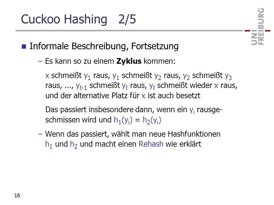 Cuckoo Hashing 2/5 Informale Beschreibung, Fortsetzung –Es kann so zu einem Zyklus kommen: x schmeißt y 1 raus, y 1 schmeißt y 2 raus, y 2 schmeißt y