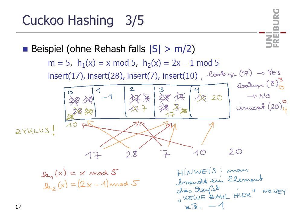Cuckoo Hashing 3/5 Beispiel (ohne Rehash falls |S| > m/2) m = 5, h 1 (x) = x mod 5, h 2 (x) = 2x – 1 mod 5 insert(17), insert(28), insert(7), insert(1