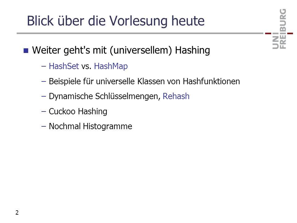 Blick über die Vorlesung heute Weiter geht's mit (universellem) Hashing –HashSet vs. HashMap –Beispiele für universelle Klassen von Hashfunktionen –Dy