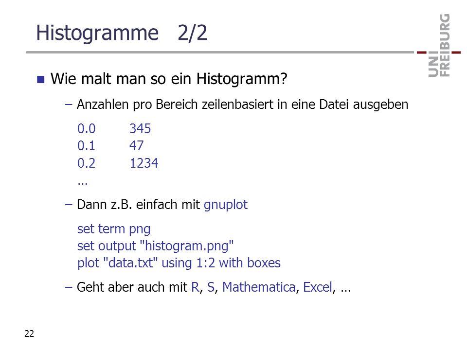 Histogramme 2/2 Wie malt man so ein Histogramm? –Anzahlen pro Bereich zeilenbasiert in eine Datei ausgeben 0.0345 0.147 0.21234 … –Dann z.B. einfach m