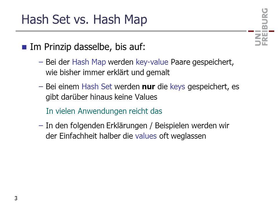 Hash Set vs. Hash Map Im Prinzip dasselbe, bis auf: –Bei der Hash Map werden key-value Paare gespeichert, wie bisher immer erklärt und gemalt –Bei ein