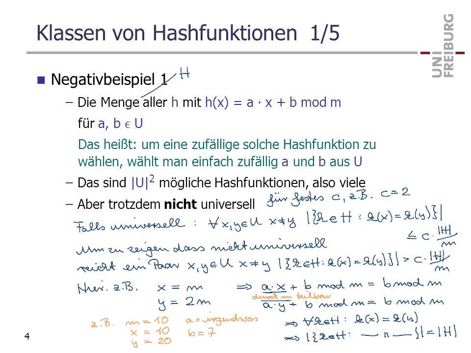 Klassen von Hashfunktionen 1/5 Negativbeispiel 1 –Die Menge aller h mit h(x) = a x + b mod m für a, b U Das heißt: um eine zufällige solche Hashfunkti