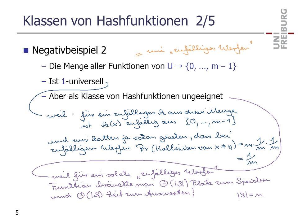 Klassen von Hashfunktionen 2/5 Negativbeispiel 2 –Die Menge aller Funktionen von U {0,..., m – 1} –Ist 1-universell –Aber als Klasse von Hashfunktione