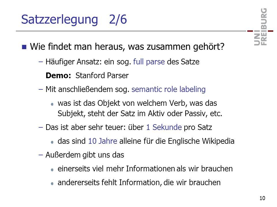 Satzzerlegung 2/6 Wie findet man heraus, was zusammen gehört? –Häufiger Ansatz: ein sog. full parse des Satze Demo: Stanford Parser –Mit anschließende