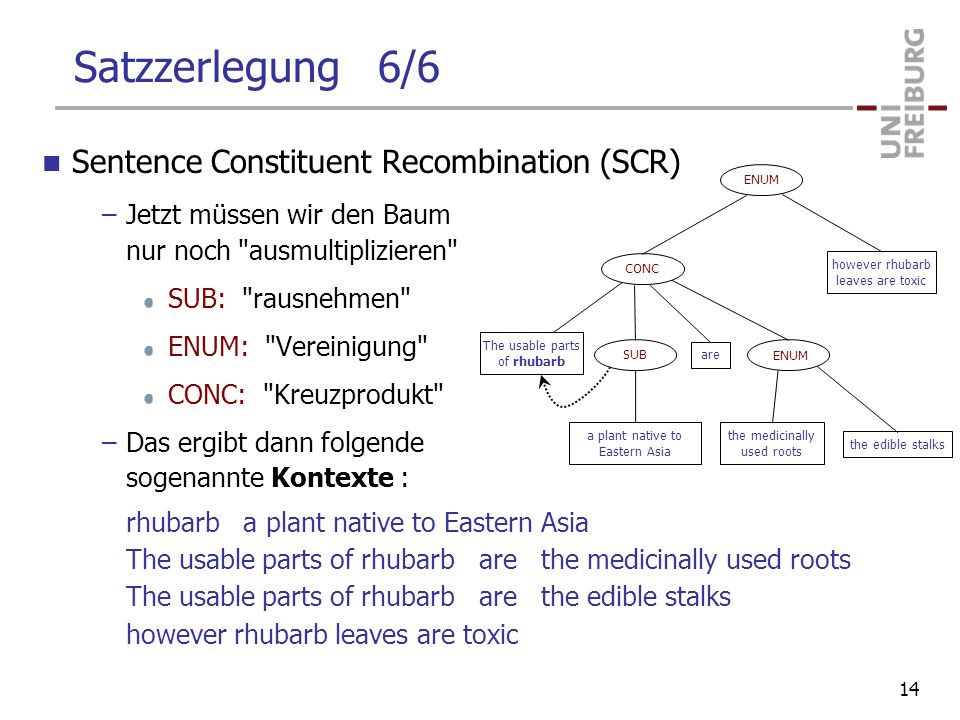 Satzzerlegung 6/6 Sentence Constituent Recombination (SCR) –Jetzt müssen wir den Baum nur noch ausmultiplizieren SUB: rausnehmen ENUM: Vereinigung CONC: Kreuzprodukt –Das ergibt dann folgende sogenannte Kontexte : rhubarb a plant native to Eastern Asia The usable parts of rhubarb are the medicinally used roots The usable parts of rhubarb are the edible stalks however rhubarb leaves are toxic ENUM CONC SUB The usable parts of rhubarb a plant native to Eastern Asia are the medicinally used roots the edible stalks however rhubarb leaves are toxic 14