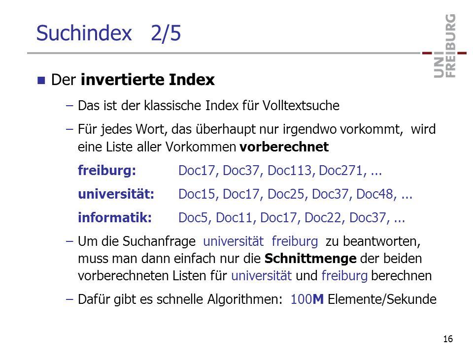 Suchindex 2/5 Der invertierte Index –Das ist der klassische Index für Volltextsuche –Für jedes Wort, das überhaupt nur irgendwo vorkommt, wird eine Li