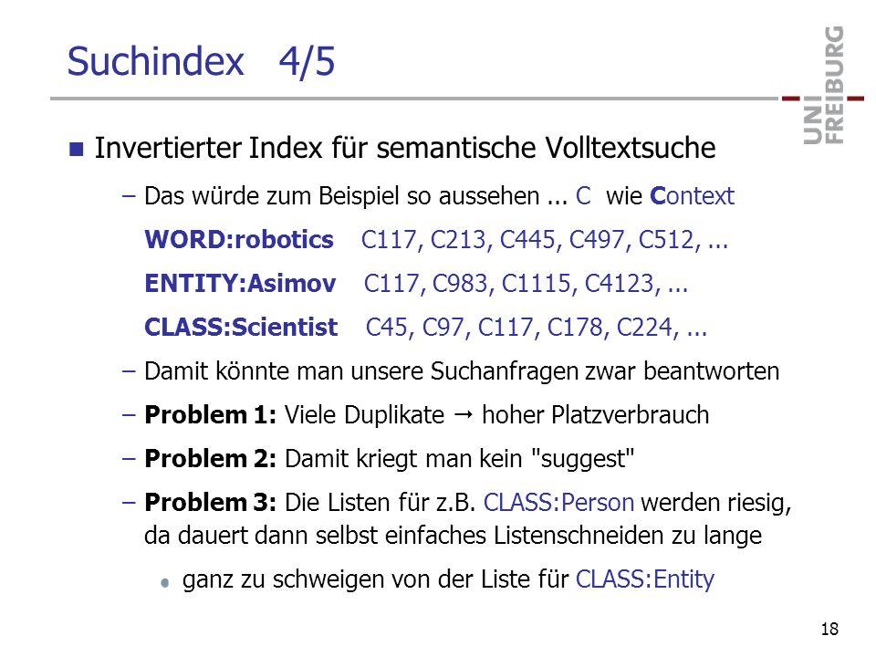 Suchindex 4/5 Invertierter Index für semantische Volltextsuche –Das würde zum Beispiel so aussehen... C wie Context WORD:robotics C117, C213, C445, C4