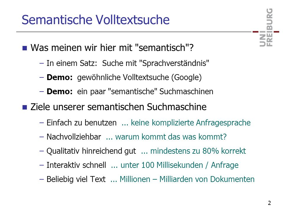 Demos Example queries –Google: scientists robotics –Swoogle: scientist robotics –YAGO: ?x isA scientist; keywords: robotics –Neofonie: Class:scientists robotics –Broccoli: Class:scientist occurs-with robotic* –Broccoli: add is-citizen-of Germany –Broccoli: Class:plants occurs-with edible leaves 23