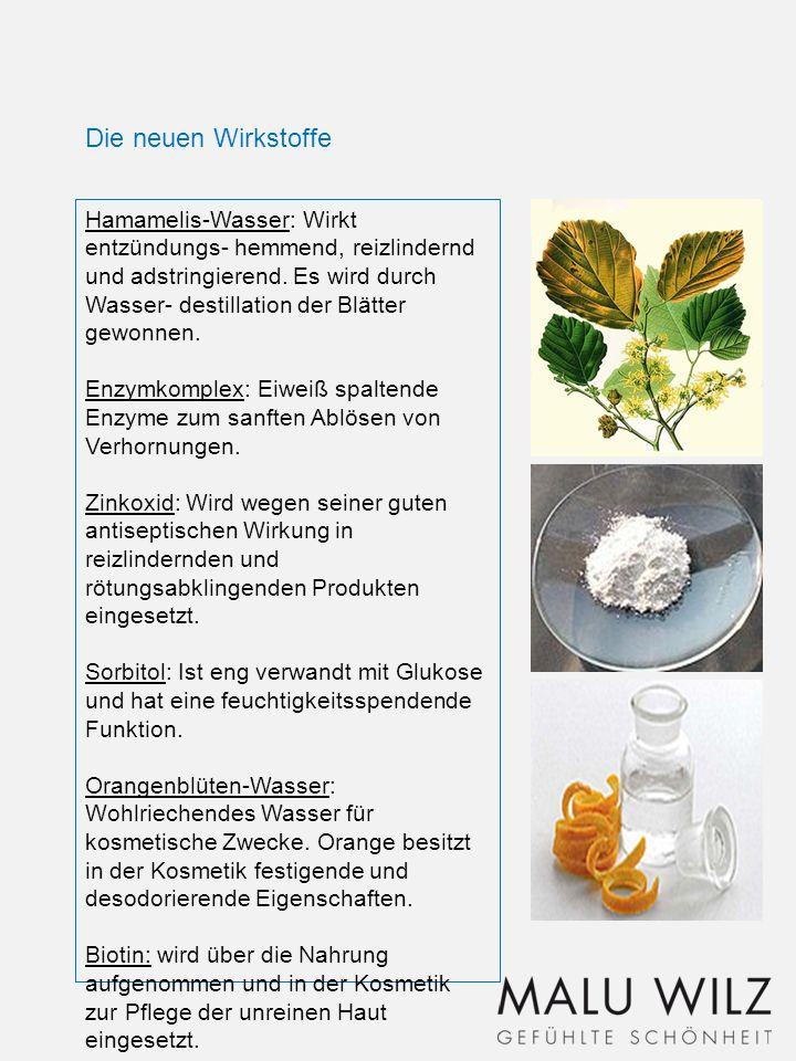 Hamamelis-Wasser: Wirkt entzündungs- hemmend, reizlindernd und adstringierend. Es wird durch Wasser- destillation der Blätter gewonnen. Enzymkomplex: