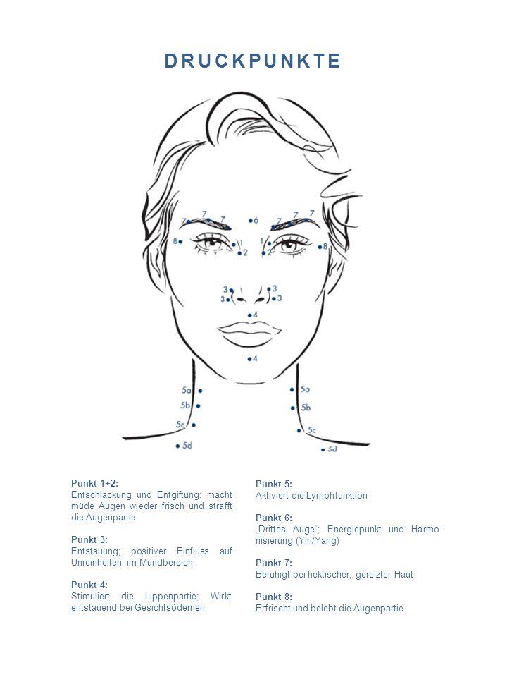 DRUCKPUNKTE Punkt 1+2: Entschlackung und Entgiftung; macht müde Augen wieder frisch und strafft die Augenpartie Punkt 3: Entstauung; positiver Einflus
