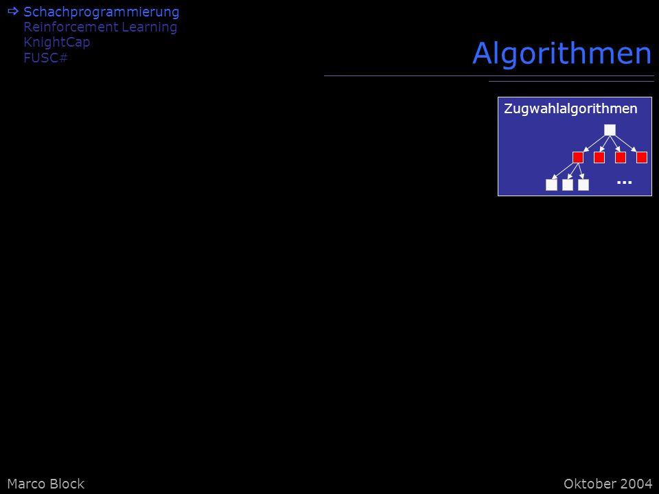 Marco BlockOktober 2004 Algorithmen Schachprogrammierung Reinforcement Learning KnightCap FUSC# Zugwahlalgorithmen...