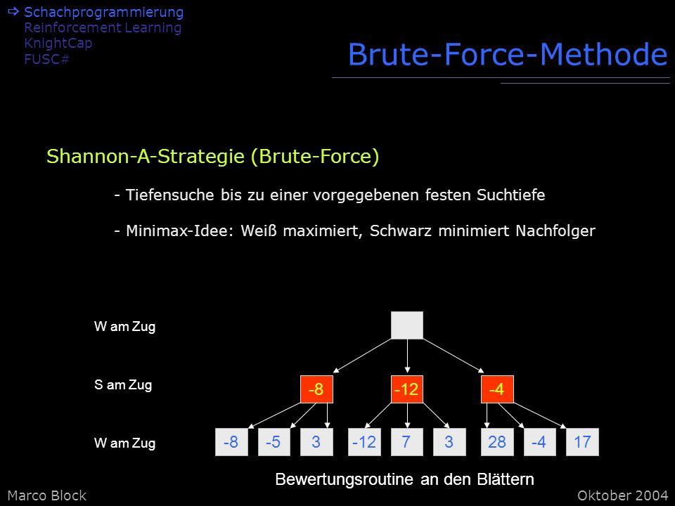 Marco BlockOktober 2004 Brute-Force-Methode -8-53-127328-417 -8-12-4 W am Zug S am Zug W am Zug Bewertungsroutine an den Blättern Shannon-A-Strategie (Brute-Force) - Tiefensuche bis zu einer vorgegebenen festen Suchtiefe - Minimax-Idee: Weiß maximiert, Schwarz minimiert Nachfolger Schachprogrammierung Reinforcement Learning KnightCap FUSC#