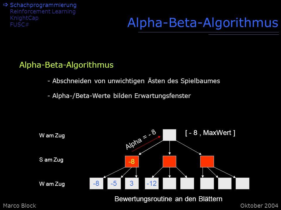Marco BlockOktober 2004 Alpha-Beta-Algorithmus -8-53-12 -8 W am Zug S am Zug W am Zug Bewertungsroutine an den Blättern Alpha = - 8 [ - 8, MaxWert ] Alpha-Beta-Algorithmus - Abschneiden von unwichtigen Ästen des Spielbaumes - Alpha-/Beta-Werte bilden Erwartungsfenster Schachprogrammierung Reinforcement Learning KnightCap FUSC#