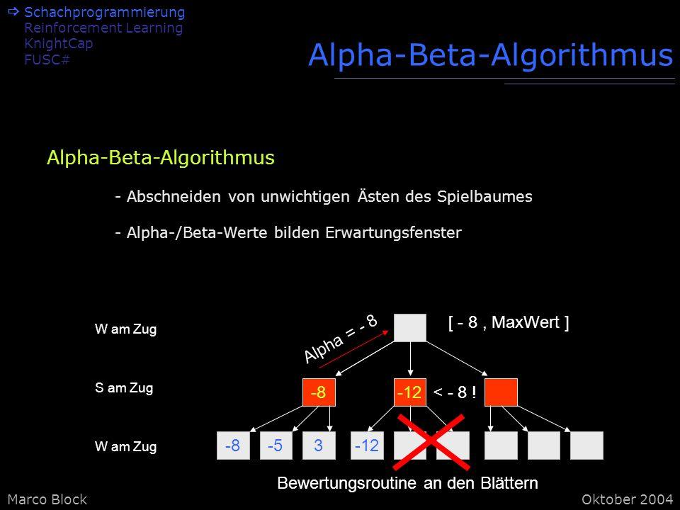 Marco BlockOktober 2004 Alpha-Beta-Algorithmus -8-53-12 -8-12 W am Zug S am Zug W am Zug Bewertungsroutine an den Blättern Alpha = - 8 [ - 8, MaxWert ] < - 8 .