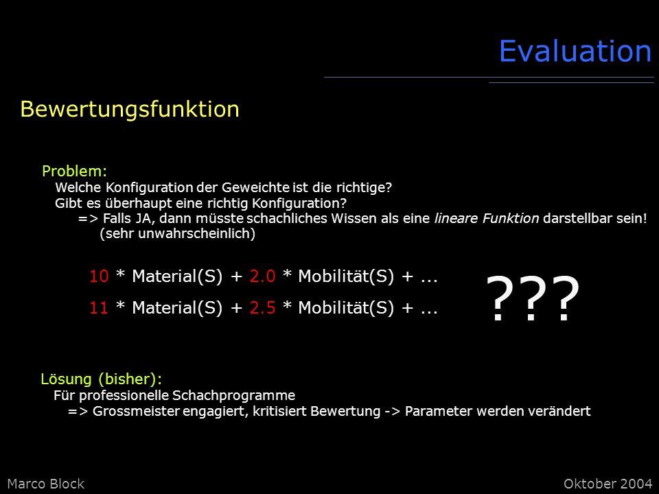 Marco BlockOktober 2004 Evaluation Bewertungsfunktion Problem: Welche Konfiguration der Geweichte ist die richtige.
