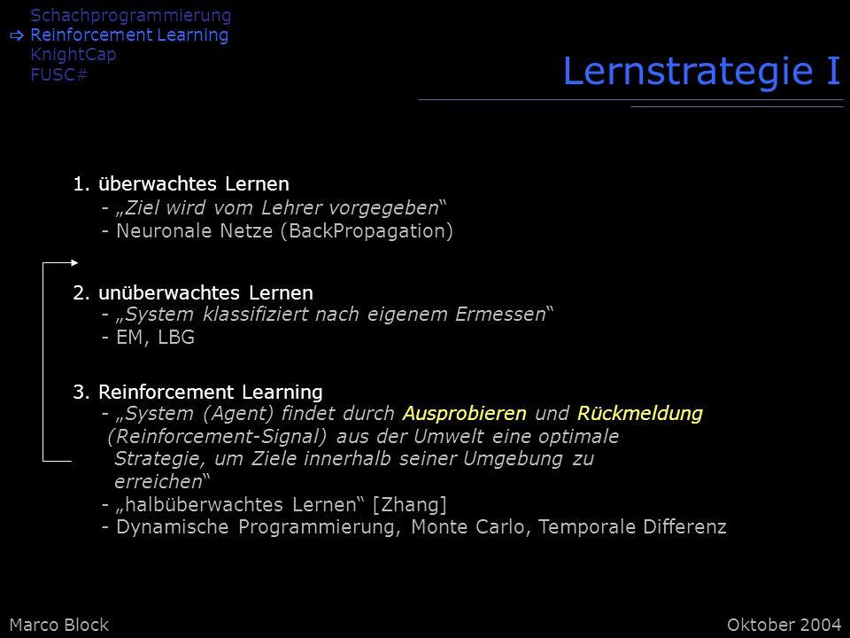 Marco BlockOktober 2004 Schachprogrammierung Reinforcement Learning KnightCap FUSC# Lernstrategie I 1.