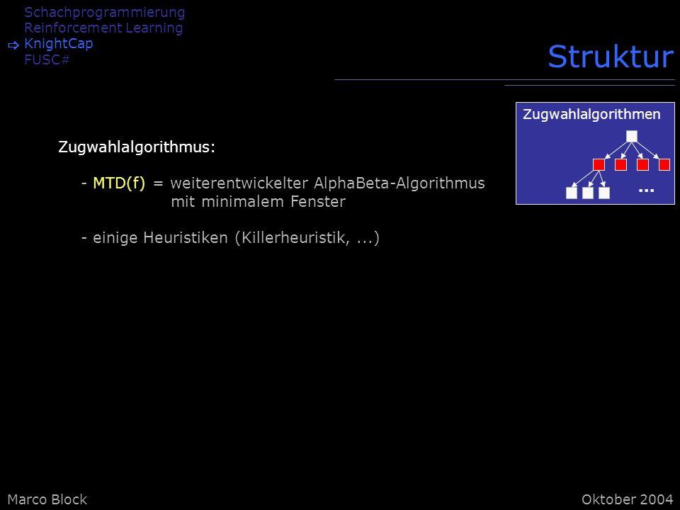 Marco BlockOktober 2004 Schachprogrammierung Reinforcement Learning KnightCap FUSC# Struktur Zugwahlalgorithmus: - MTD(f) = weiterentwickelter AlphaBeta-Algorithmus mit minimalem Fenster - einige Heuristiken (Killerheuristik,...) Zugwahlalgorithmen...