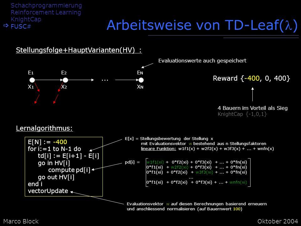 Marco BlockOktober 2004 E[x] = Stellungsbewertung der Stellung x mit Evaluationsvektor w bestehend aus n Stellungsfaktoren lineare Funktion: w1f1(x) + w2f2(x) + w3f3(x) +...