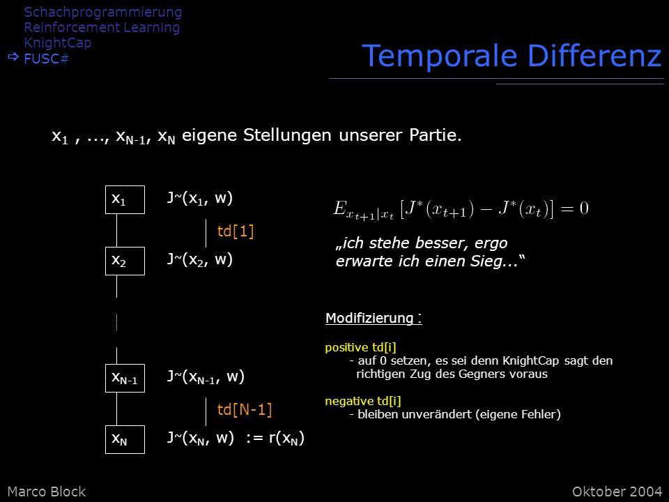 Marco BlockOktober 2004 Temporale Differenz x 1,..., x N-1, x N eigene Stellungen unserer Partie.