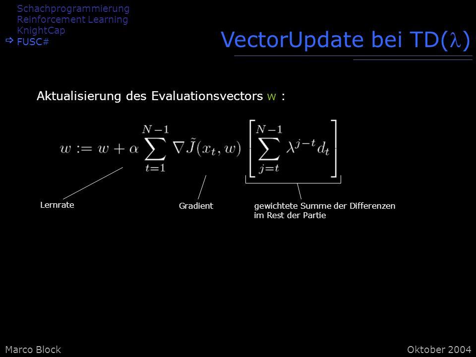 Marco BlockOktober 2004 VectorUpdate bei TD() Aktualisierung des Evaluationsvectors w : Lernrate Gradientgewichtete Summe der Differenzen im Rest der Partie Schachprogrammierung Reinforcement Learning KnightCap FUSC#