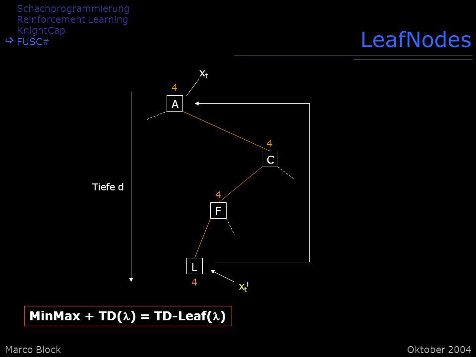 Marco BlockOktober 2004 LeafNodes A 4 C 4 F 4 L 4 Tiefe d xtlxtl xtxt MinMax + TD() = TD-Leaf() Schachprogrammierung Reinforcement Learning KnightCap FUSC#