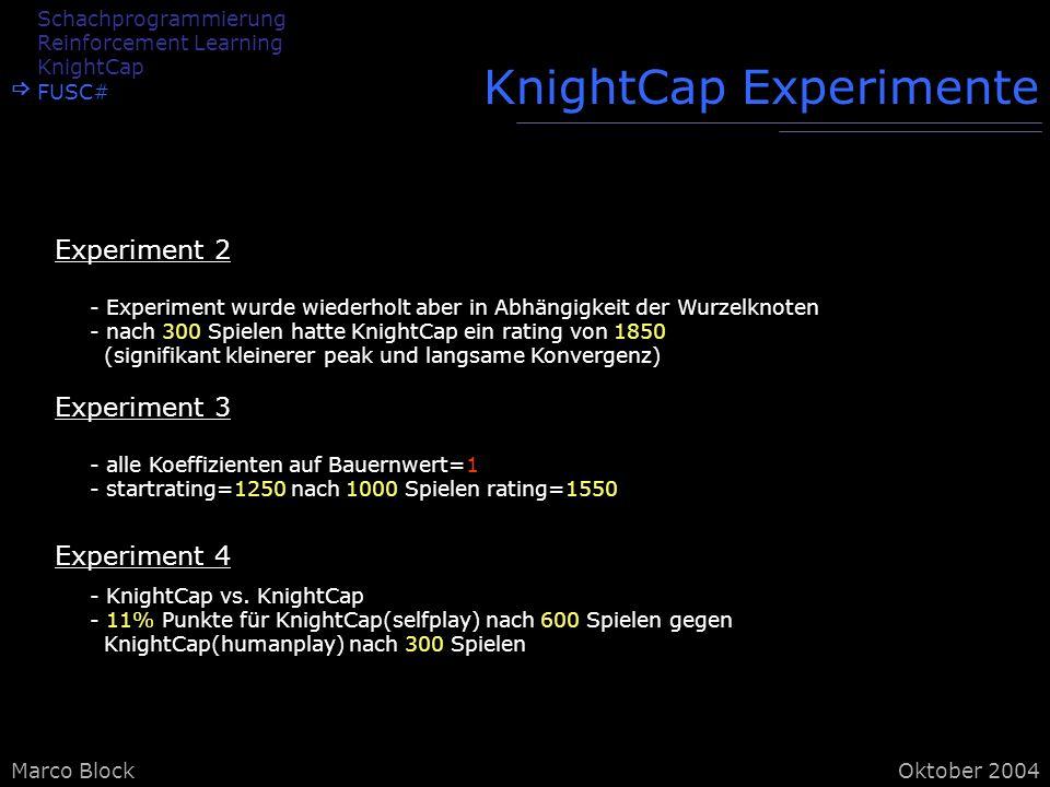 Marco BlockOktober 2004 KnightCap Experimente - Experiment wurde wiederholt aber in Abhängigkeit der Wurzelknoten - nach 300 Spielen hatte KnightCap ein rating von 1850 (signifikant kleinerer peak und langsame Konvergenz) Experiment 2 - alle Koeffizienten auf Bauernwert=1 - startrating=1250 nach 1000 Spielen rating=1550 - KnightCap vs.