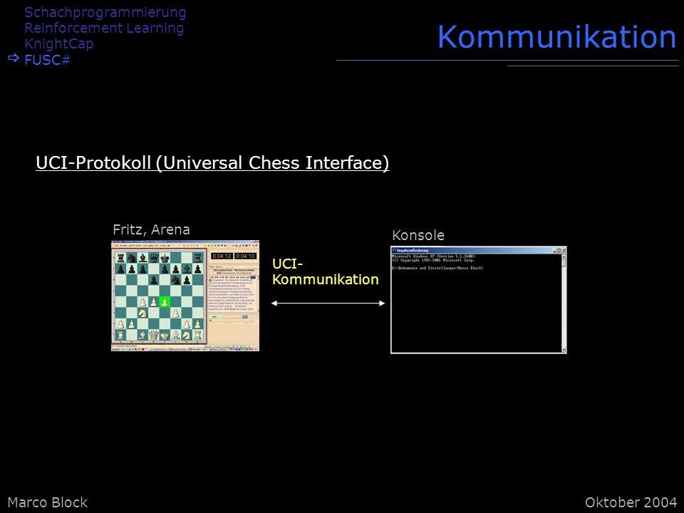 Marco BlockOktober 2004 Kommunikation Schachprogrammierung Reinforcement Learning KnightCap FUSC# UCI- Kommunikation Fritz, Arena Konsole UCI-Protokoll (Universal Chess Interface)