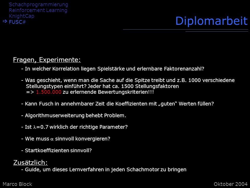 Marco BlockOktober 2004 Diplomarbeit - In welcher Korrelation liegen Spielstärke und erlernbare Faktorenanzahl.