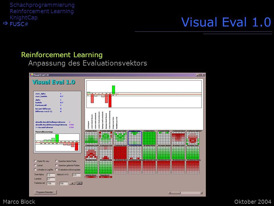 Marco BlockOktober 2004 Visual Eval 1.0 Reinforcement Learning Anpassung des Evaluationsvektors Schachprogrammierung Reinforcement Learning KnightCap FUSC#