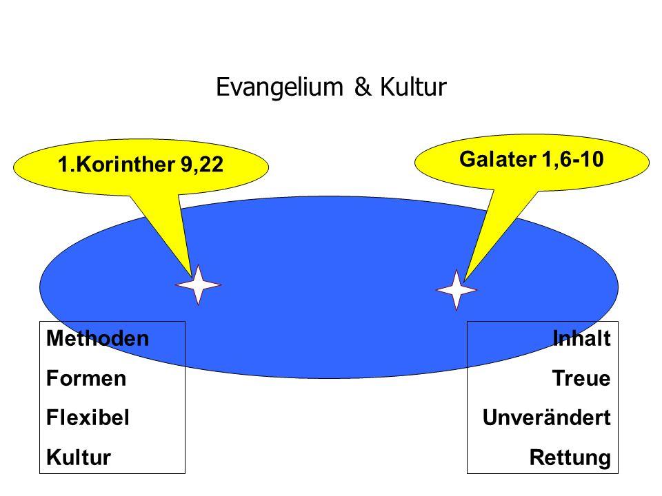 Evangelium & Kultur Galater 1,6-10 1.Korinther 9,22 Methoden Formen Flexibel Kultur Inhalt Treue Unverändert Rettung