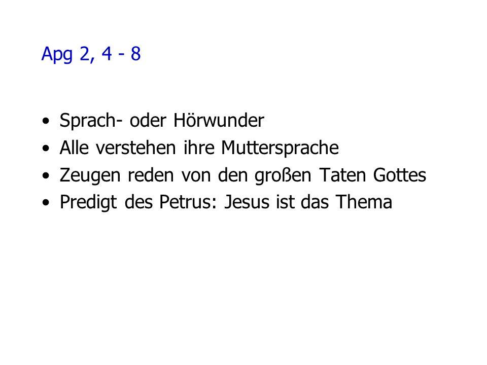 Apg 2, 4 - 8 Sprach- oder Hörwunder Alle verstehen ihre Muttersprache Zeugen reden von den großen Taten Gottes Predigt des Petrus: Jesus ist das Thema