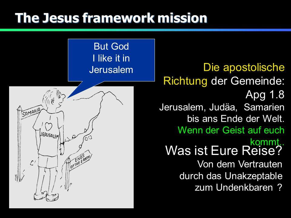 The Jesus framework mission But God I like it in Jerusalem Die apostolische Richtung der Gemeinde: Apg 1.8 Jerusalem, Judäa, Samarien bis ans Ende der