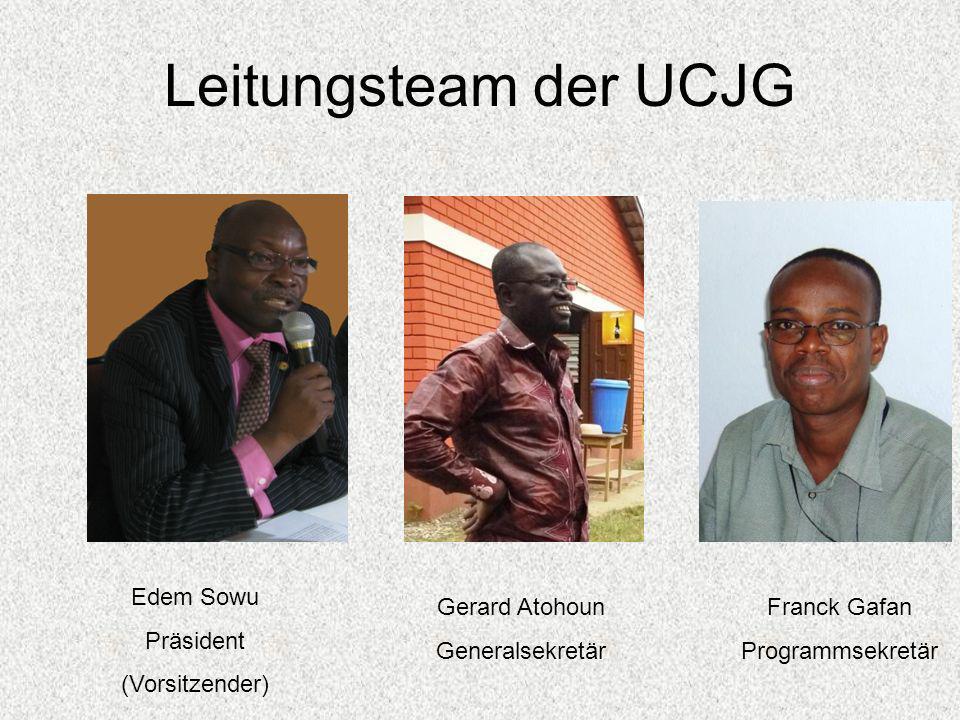 Leitungsteam der UCJG Edem Sowu Präsident (Vorsitzender) Gerard Atohoun Generalsekretär Franck Gafan Programmsekretär