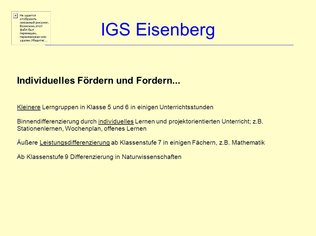 IGS Eisenberg Individuelles Fördern und Fordern... Kleinere Lerngruppen in Klasse 5 und 6 in einigen Unterrichtsstunden Binnendifferenzierung durch in